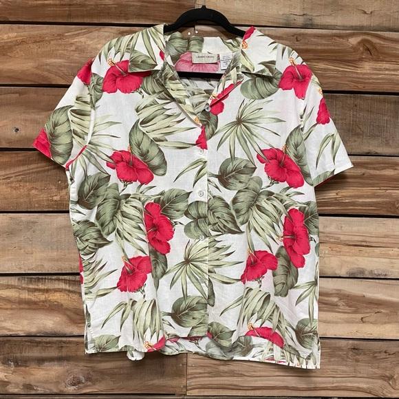 Vintage lemon grass XL linen Hawaiian shirt button